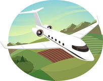 Private jet flying. In the sky  cartoon illustration Royalty Free Stock Photos