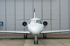 Private Jet in hangar Royalty Free Stock Photography