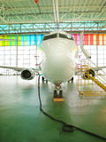 Private Jet in a hangar Stock Photo