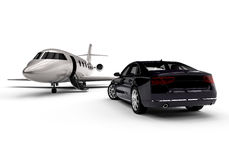 Private jet with a limousine. 3D render image representing a private jet with a parked limousine Royalty Free Stock Photo