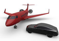 Private jet and luxury car. 3D render illustration of a private jet positioned next to a luxury car. The composition is isolated on a white background with Royalty Free Stock Photos
