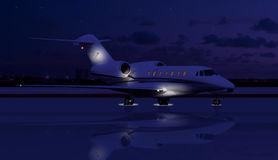Private jet at night. On the runway Stock Photo