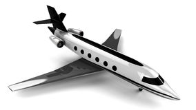 Private Jet-plane. 3D render image representing a private airplane Stock Photos