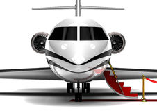 Private Jet Plane. 3D render image representing an private jet plane waiting with the stairs open Stock Photos
