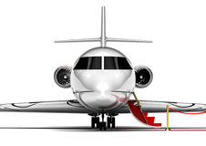 Private Jet Plane. 3D render image representing an private jet plane waiting with the stairs open Royalty Free Stock Photography