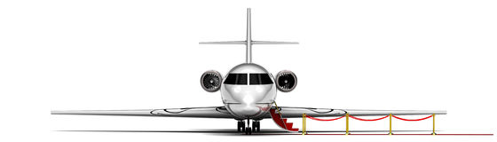 Private Jet Plane. 3D render image representing an private jet plane waiting with the stairs open Stock Photo