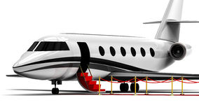 Private Jet Plane. 3D render image representing an private jet plane waiting with the stairs open Royalty Free Stock Photo