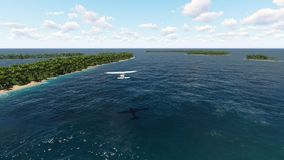 Private jet plane flying over the ocean and tropical islands. stock video