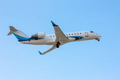 Private jet plane taking off. Modern private jet plane taking off stock photos
