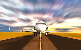 Private Jet Plane Taking off with Motion Blur. Front of Private Jet Plane Taking off with Motion / Radial  Blur. Sunset Scene Stock Photos