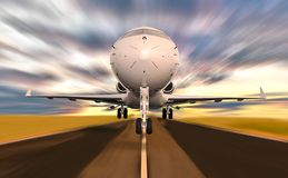 Private Jet Plane Taking weg mit Bewegungsunschärfe während des Sonnenuntergangs stockbild