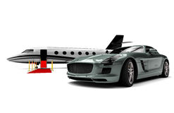 Private Jet and private sport car Royalty Free Stock Image