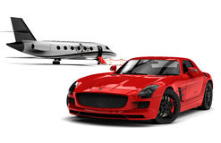 Private Jet and private sport car Royalty Free Stock Photography