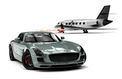 Private Jet and private sport car Stock Image