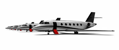 Private jet row. 3d render image representing a row of private jet Stock Images