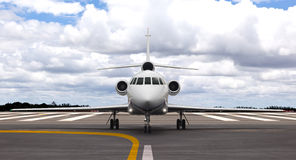 Private jet on the runway. Ready for take off Stock Photos