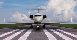 Private jet on the runway. Ready for take off Royalty Free Stock Image
