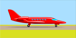 Private jet on the runway. Vector illustration Stock Images
