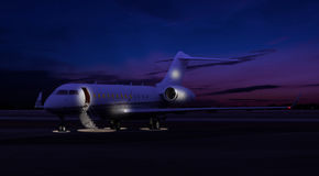 Private jet sitting at the tarmac Royalty Free Stock Images
