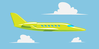 Private jet in the sky with clouds. Vector illustration Stock Image