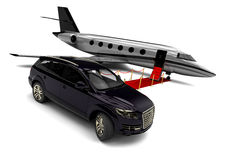 Private jet with a SUV Stock Image