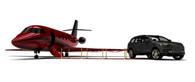 Private jet with a SUV limousine. 3d render image representing an private jet with an SUV limousine Royalty Free Stock Photos