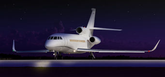 Private jet taxiing. In the dark stock photo