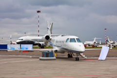 Private jet with two engines Stock Image