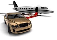 Private Jetfläche mit einem Luxusauto Stockfotografie