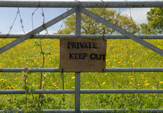Private Keep Out sign on gate Stock Photos
