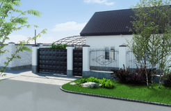 Private land exterior, 3D render Stock Images