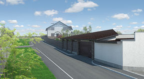 Private land exterior, landscaping 3D render. Natural character of the site into the design Stock Photo
