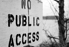 Private Land. No public access sign on land near water Royalty Free Stock Photography