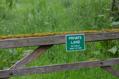 Private land sign. Royalty Free Stock Photo