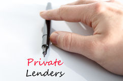 Private lenders text concept Stock Photos