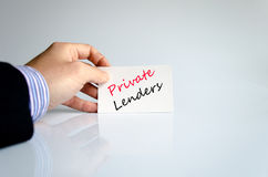 Private lenders text concept Stock Photography