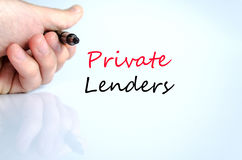 Private lenders text concept Stock Image