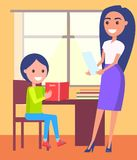 Private Lessons at Home with Schoolboy and Teacher. Private lessons at home with schoolboy sitting near window, pretty teacher stands behind him with sheet of Royalty Free Stock Image