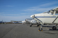Private light aircraft parked Royalty Free Stock Photo