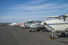 Private light aircraft parked Stock Photo