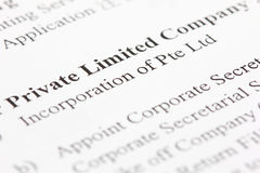 Private Limited. Incorporation of a private limited company Stock Images