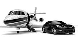 Private Limousine. 3D render image representing a private limousine with a private jet Royalty Free Stock Photography