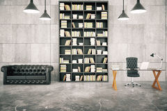 Private loft office with bookcase, leather sofa and glassy table. With concrete floor and lamps, 3D render Royalty Free Stock Photo