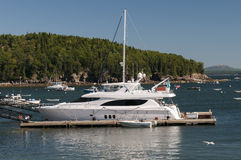 Private luxury yacht at marina. Private luxury yachts at a marina.  Bar Harbor, Maine (USA Royalty Free Stock Images
