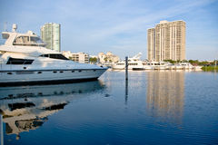 Private Marina. Scene in Aventura, Florida stock photography
