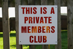 Private Member's Club. Sign indicating a private member's club Stock Image