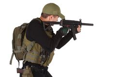 Private military contractor mercenary with mp5 submachine gun isolated on white. Private military contractor - mercenary with mp5 submachine gun isolated on Stock Photo