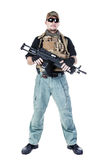 Private military contractor PMC. Studio shot of private military contractor PMC with assault rifle Royalty Free Stock Photo