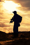 Private military contractor. With rifle against the sun Stock Image