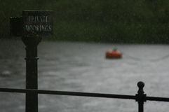 Private Moorings. Sign by the river Dee in Chester Royalty Free Stock Photo